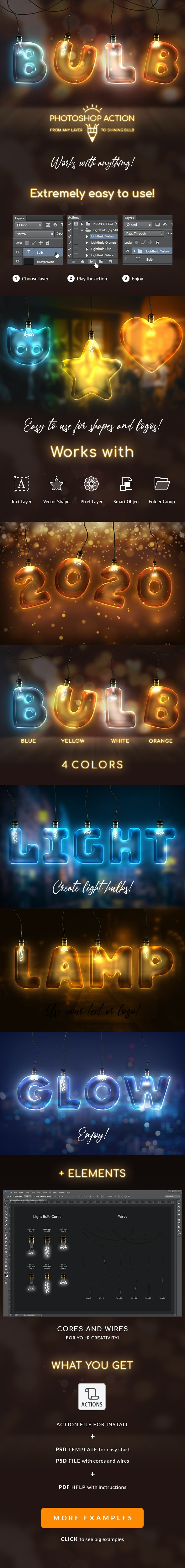 Light Bulb - Photoshop Action - Text Effects Actions