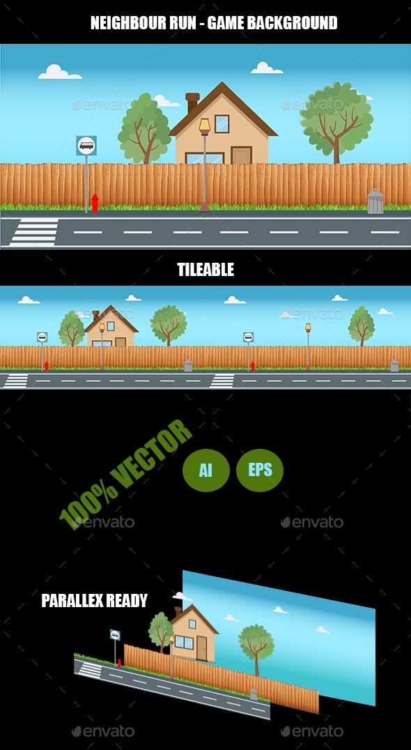 Neighbour Run - Game Background - Backgrounds Game Assets