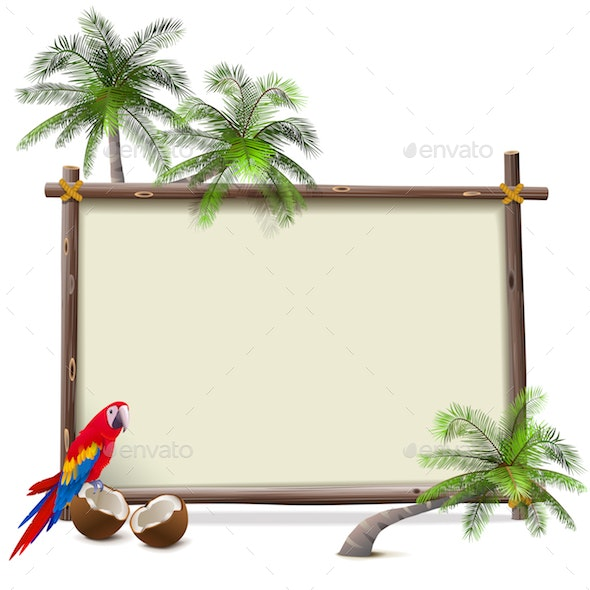 Vector Tropical Resort Frame - Travel Conceptual