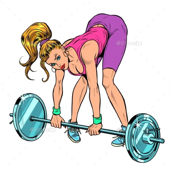 Female Athlete Weightlifting Lifting Barbell
