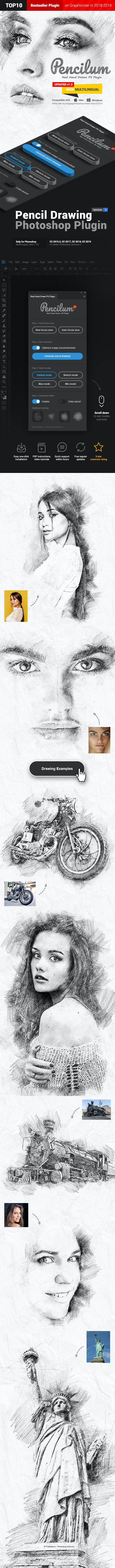 Pencil Sketch - Pencilum - Real Hand Drawn Photoshop Plugin - Photo Effects Actions