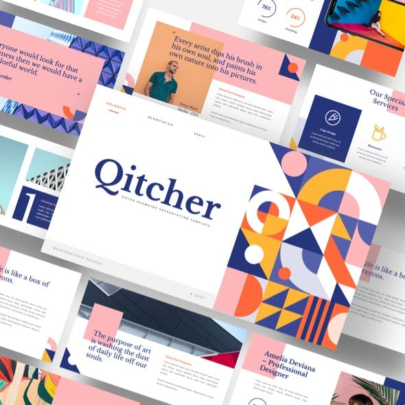 Qitcher - Color Geometry Keynote Template