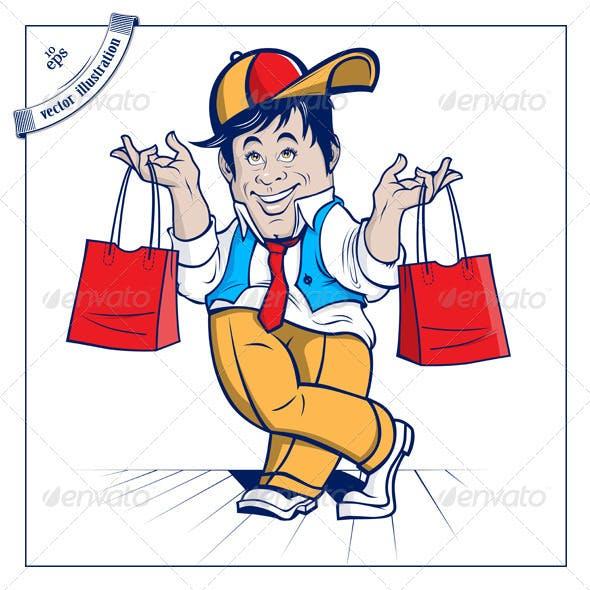 Cartoon Shopping Boy