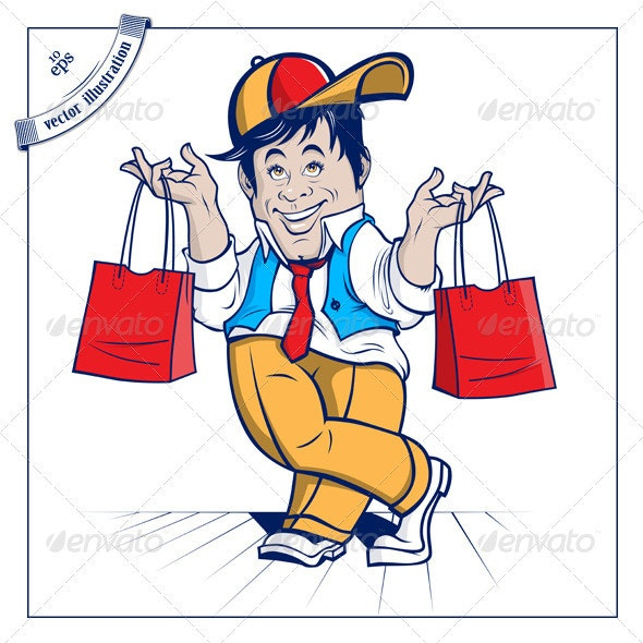 Cartoon Shopping Boy - People Characters