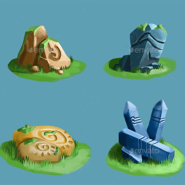 Stones Objects for Casual Game