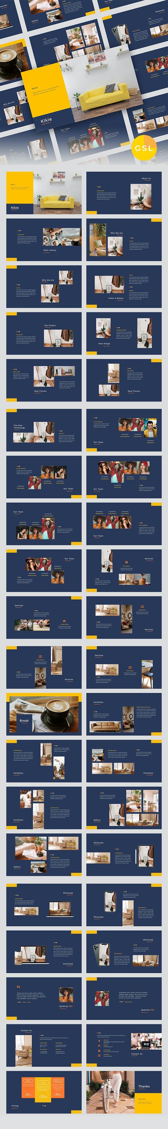 Kikie – Creative Business & Elegant Google Slides Template - Google Slides Presentation Templates