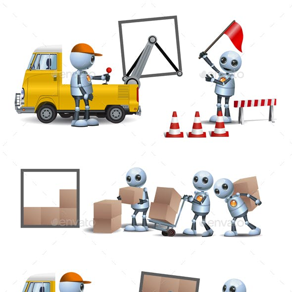 Little Handy Robot Man Working Lifting and   Storage
