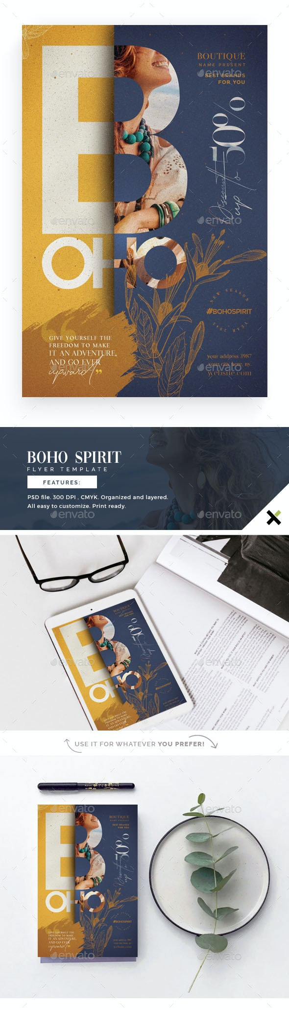 Boho Spirit Flyer Template - Flyers Print Templates