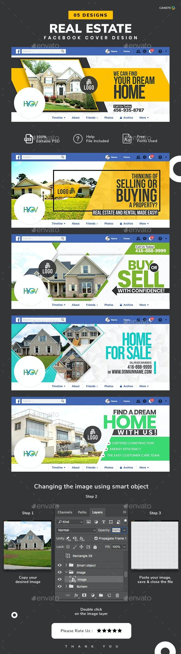 Real Estate Facebook Cover Templates - 05 Designs - Facebook Timeline Covers Social Media