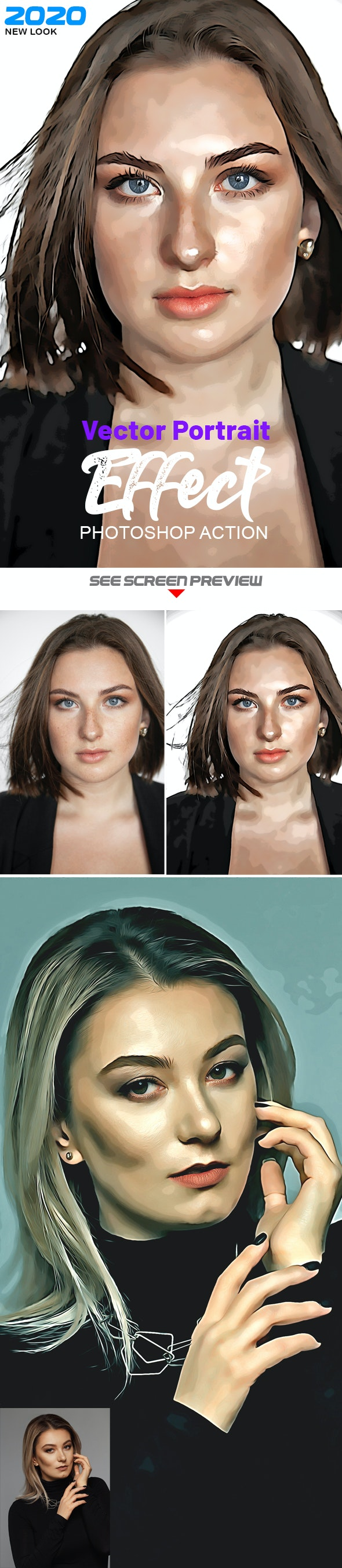 Vector Portrait Photoshop Effect - Photo Effects Actions