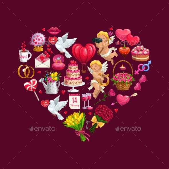 Heart of Valentines Day Gifts Flowers and Cupids