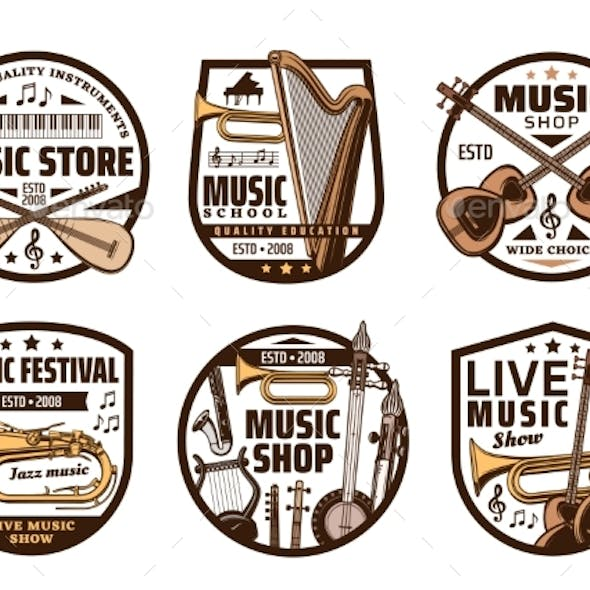 Music Instruments Shop Classic and Jazz Sound