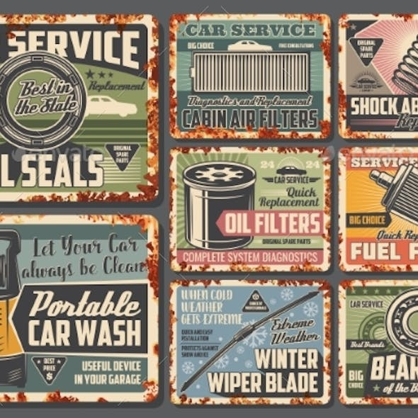 Car Maintenance Service Metal Signs