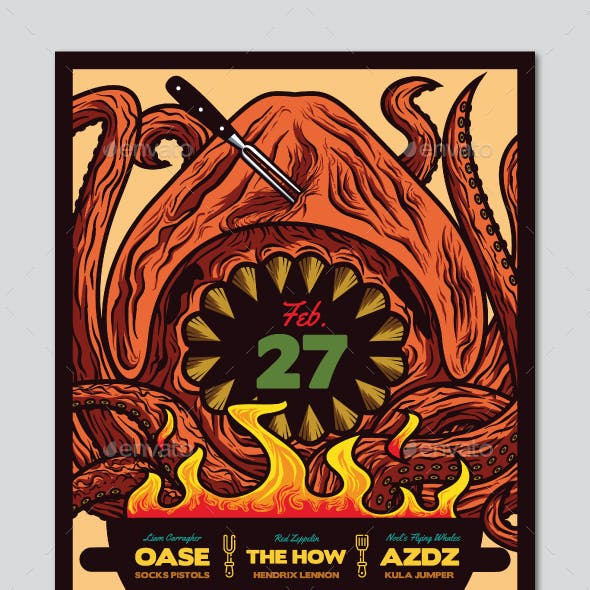 Barbecue Monster Indie Rock Flyer