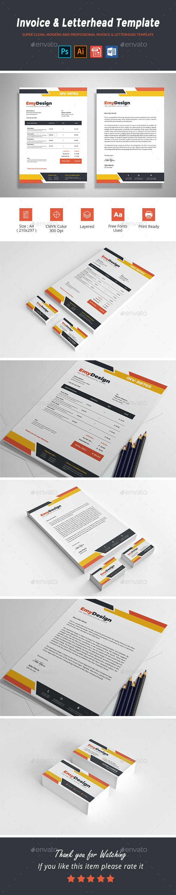 Invoice & Letterhead Template - Proposals & Invoices Stationery