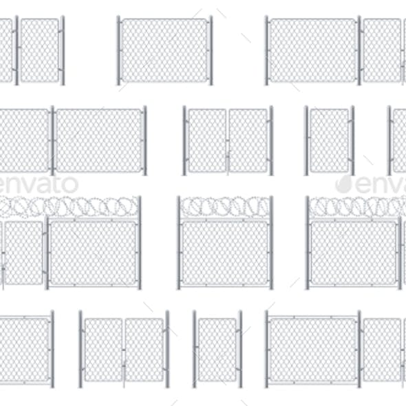 Set of Isolated Chain Link Fences and Barbed Wires