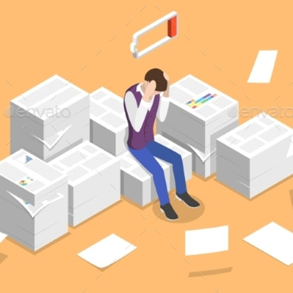 Isometric Vector Concept of Overworked and Tired