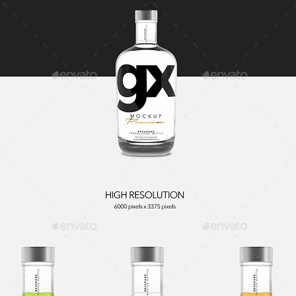 Beverage - Translucent Bottle - Mockup