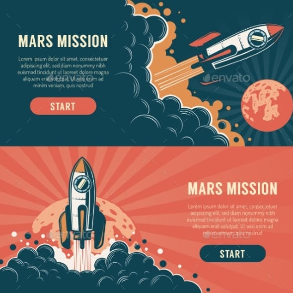 Rocket Launch Startup Flyer Vintage Style