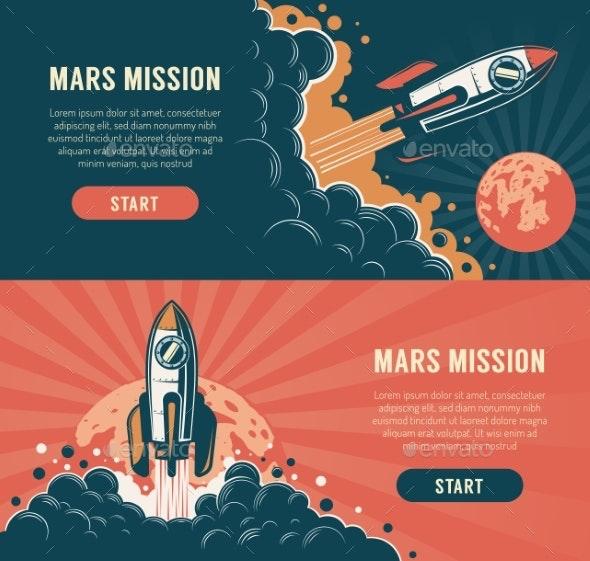 Rocket Launch Startup Flyer Vintage Style - Backgrounds Decorative