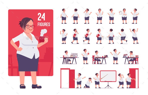 Obese Female Clerk in Formal Wear Character Set - People Characters