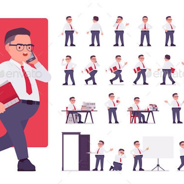 Obese Male Clerk in Formal Wear Character Set
