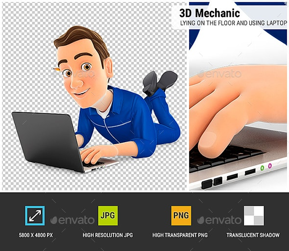 3D Mechanic Lying on the Floor and Using Laptop - Characters 3D Renders