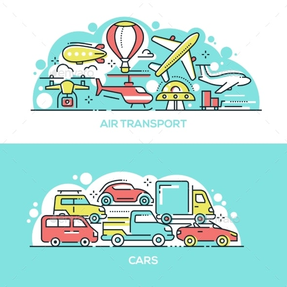 Air Transport and Cars Banner Templates Set - Miscellaneous Vectors