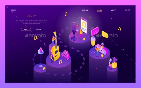 Party and Celebration - Modern Isometric Vector - Concepts Business