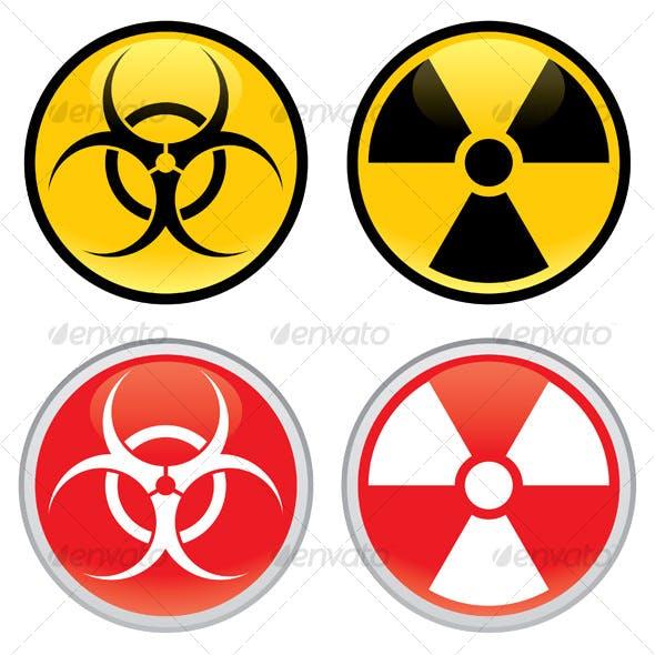 Biohazard and Radioactive Warning Signs