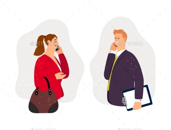 Business Conversation on Phone - People Characters