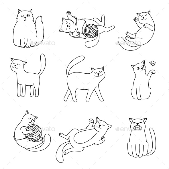 Cats Line Doodles - Animals Characters