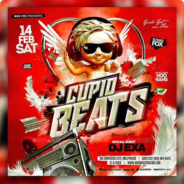 Cupid Beats Valentines Party Flyer