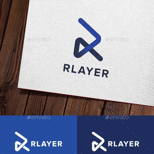 Rlayer - Letter R Play Logo