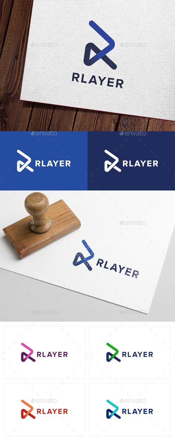 Rlayer - Letter R Play Logo - Letters Logo Templates