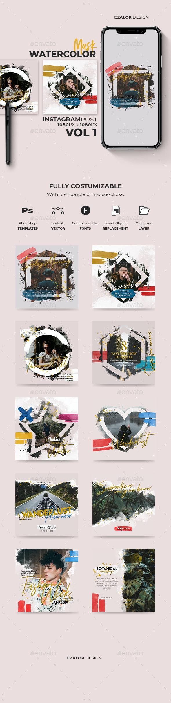Insta Watercolor Masks Vol 1 - Social Media Web Elements