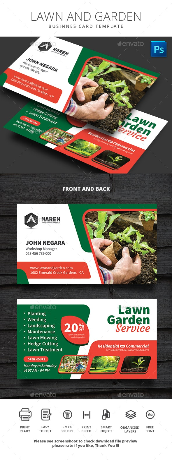 Business Card Lawn and Garden - Business Cards Print Templates