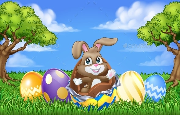 Easter Bunny Rabbit Breaking Chocolate Egg Scene - Miscellaneous Seasons/Holidays