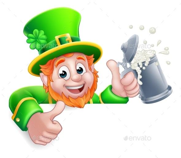 Leprechaun St Patricks Day Cartoon Drink Sign - Miscellaneous Seasons/Holidays