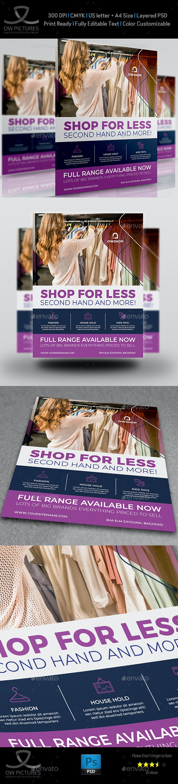 Second Hand Shop Flyer Template - Flyers Print Templates