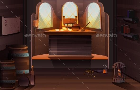 Pirate Captain Ship Cabin Wooden Room Interior - Travel Conceptual