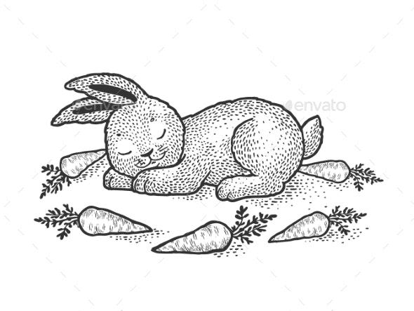 Cartoon Sleeping Rabbit Sketch Vector Illustration by AlexanderPokusay