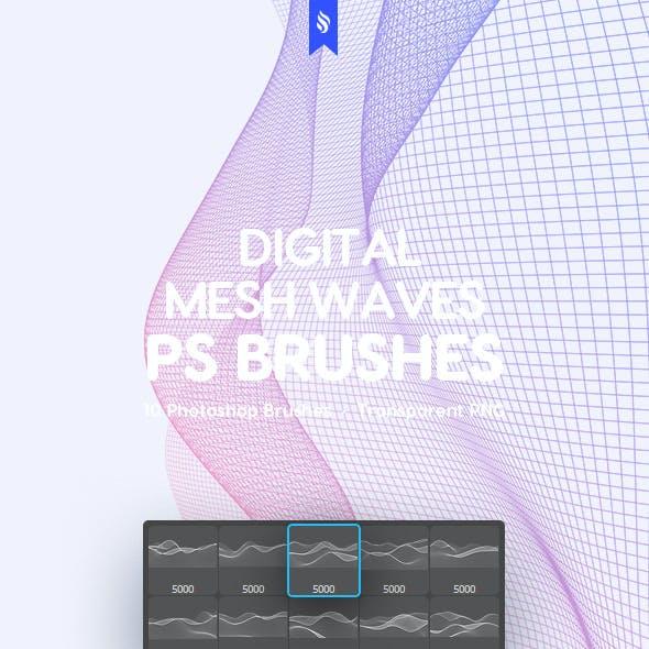 Mesh Waves Photoshop Brushes