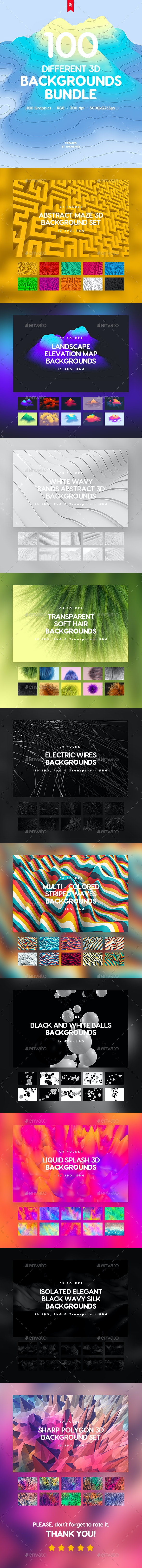 100 Different Abstract 3D Backgrounds Bundle - 3D Backgrounds