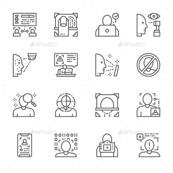 Set Of Face Detection Line Icons. Pack Of 64x64 Pixel Icons