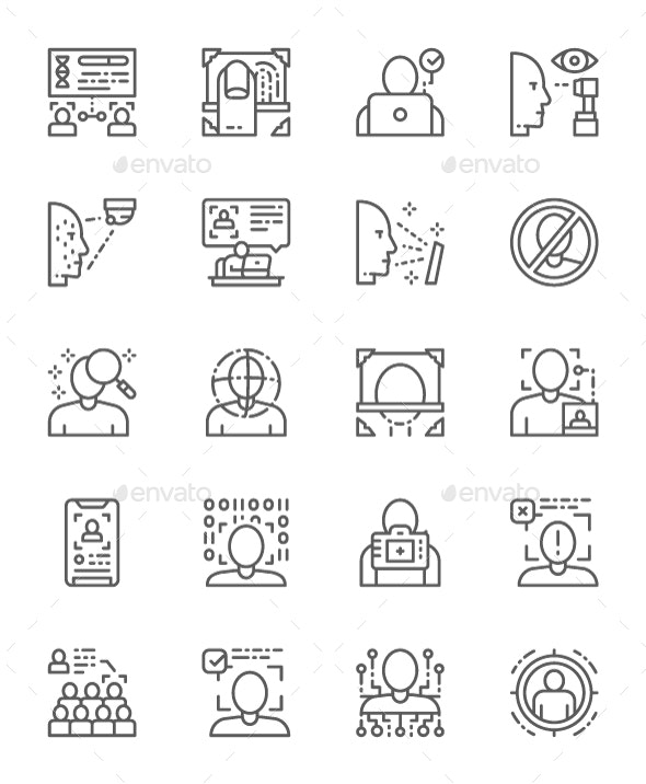 Set Of Face Detection Line Icons. Pack Of 64x64 Pixel Icons - Technology Icons
