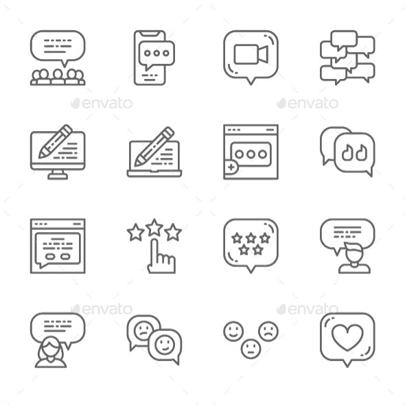 Set Of Feedback Line Icons. Pack Of 64x64 Pixel Icons