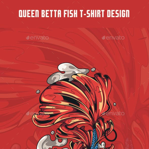 Queen Betta Fish T-Shirt Design