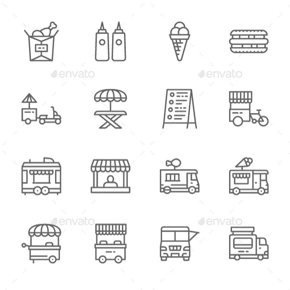 Set Of Food Truck Line Icons. Pack Of 64x64 Pixel Icons