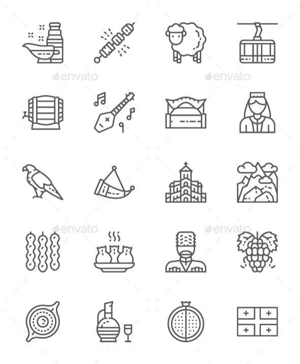 Set Of Georgian Culture Line Icons. Pack Of 64x64 Pixel Icons - Objects Icons